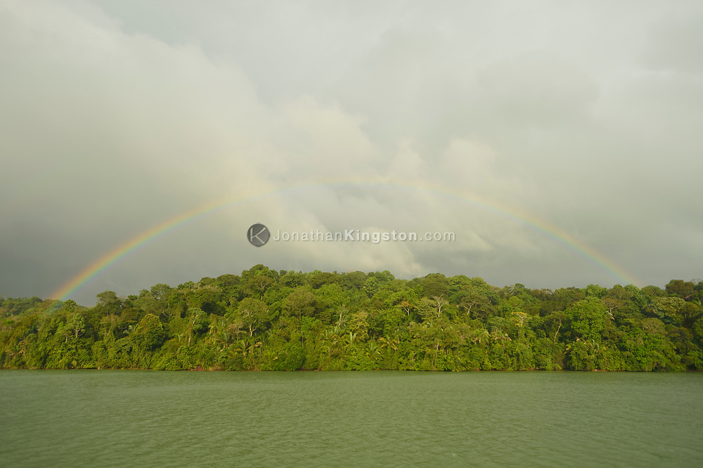 A rainbow over Barro Colorado Island, home to the Smithsonian Tropical Research Institute, Panama.