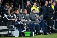 ALMELO, Heracles Almelo - Ajax, voetbal Eredivisie seizoen 2014-2015, 11-04-2015, Polman Stadion, de bank van Ajax, Ajax coach Frank de Boer (M).