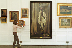 Paintings from the renowned Smurfit Collection are to be sold in Sotheby's annual sale of Irish Art in London on Friday May16th, 2003. The paintings will be unveiled on Monday, February 10 at 11am at Sotheby's New Bond Street, the first time they will be exhibited as a group outside Ireland. Pictured above is  Arabella Bishop, with images from the exhibition, including 'Mrs St George' by Sir William Orpen, est : &pound;500,000-700,000<br />Pic Susan Kennedy/Lensmen