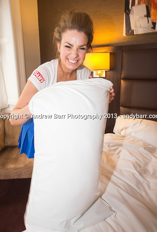 02:05:2013..Miss Scotland 2013 - chambermaid challenge at Grand Central Hotel...Pillows with Kirstie..Pic:Andy Barr..07974 923919  (mobile).andy_snap@mac.com..All pictures copyright Andrew Barr Photography. ..Please contact before any syndication. .
