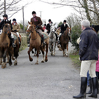 Paticipants in the Ballyvaughan Hunt bring their horses back after a long day on Sunday.<br />