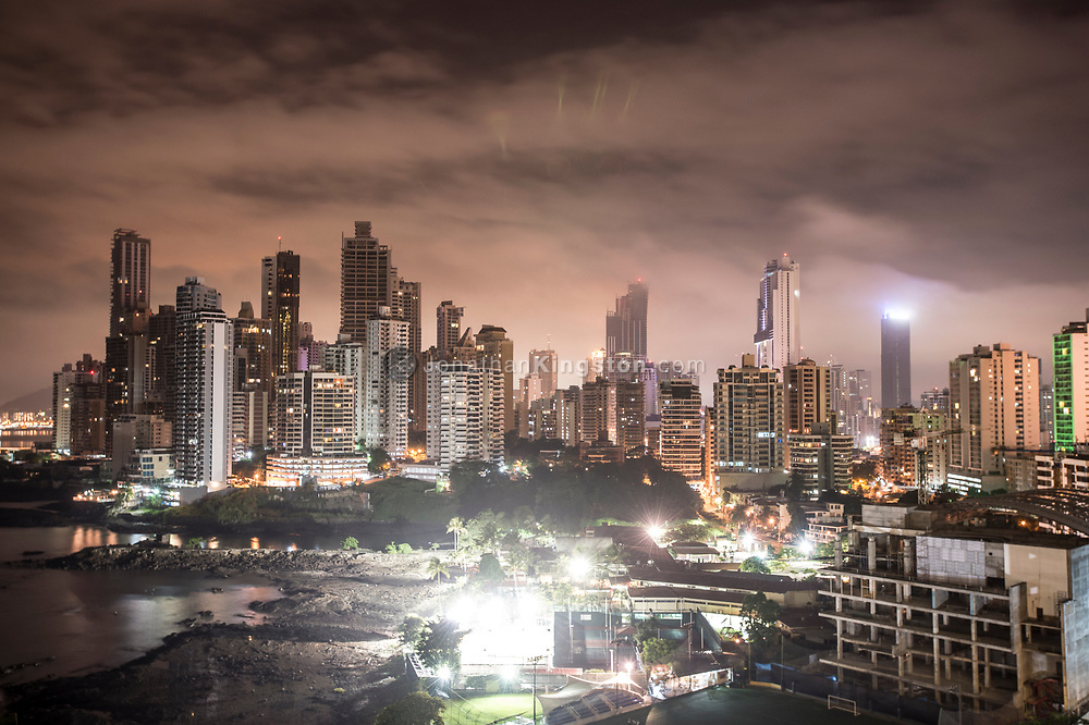 High angle night view of Panama City's skyline from the Trump Hotel.