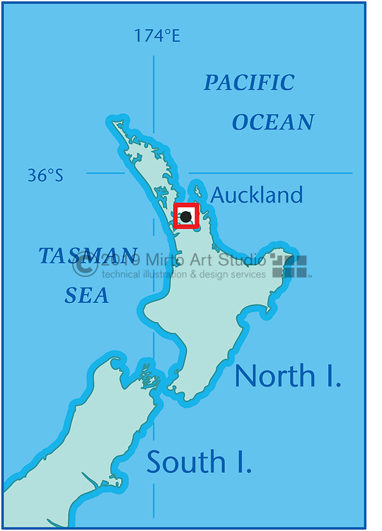 Vector map of the America's Cup Course New Zealand
