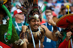 MOSCOW, RUSSIA - Sunday, June 17, 2018: A Mexico supporter wearing a Maya costume during the FIFA World Cup Russia 2018 Group F match between Germany and Mexico at the Luzhniki Stadium. (Pic by David Rawcliffe/Propaganda)