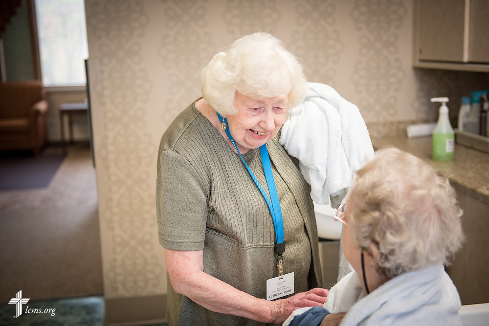 89 year-old volunteer Ruth Martens, a member of Saint Peter-Immanuel Lutheran Church in Milwaukee, talks to a Lutheran Home resident within the Bunny's Boutique beauty shop located at the Lutheran Home where she has been a volunteer for 19 years on Wednesday, May 20, 2015, in Milwaukee, Wis. LCMS Communications/Erik M. Lunsford