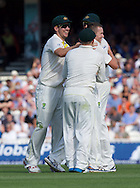 Mitchell Starc of Australia (right) is congratulated by his team mates after catching Adam Lyth of England during the 5th Investec Ashes Test Match match at the Kia Oval, London<br /> Picture by Alan Stanford/Focus Images Ltd +44 7915 056117<br /> 21/08/2015