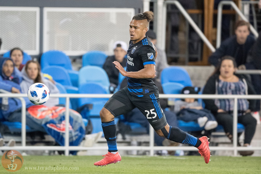 May 19, 2018; San Jose, CA, USA; San Jose Earthquakes forward Quincy Amarikwa (25) during the second half against D.C. United at Avaya Stadium. D.C. United defeated the Earthquakes 3-1.