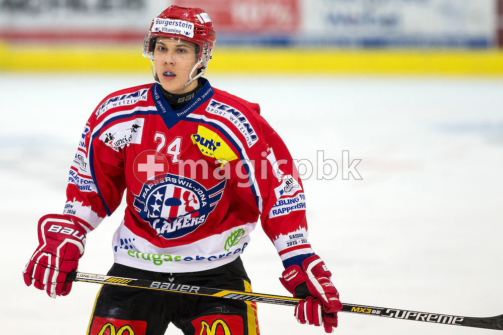 Rapperswil-Jona Lakers defenseman Lars Mathis is pictured during the third Elite B 1/2 final Playoff ice hockey game between Rapperswil-Jona Lakers and EHC Visp held at the SGKB Arena in Rapperswil, Switzerland, Friday, Mar. 3, 2017. (Photo by Patrick B. Kraemer / MAGICPBK)