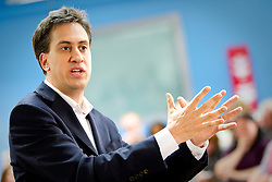 © Licensed to London News Pictures. 29/09/2012. Manchester, UK . Ed Miliband holds an open Q&A session with members of the public at The East Manchester Academy , ahead of the Labour Party Conference . Photo credit : Joel Goodman/LNP