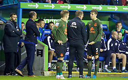 READING, ENGLAND - Tuesday, September 22, 2015: Everton's John Stones is substituted with an injury against Reading during the Football League Cup 3rd Round match at the Madejski Stadium. (Pic by David Rawcliffe/Propaganda)