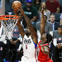 09 November 2016: Los Angeles Clippers center DeAndre Jordan (6) goes for the dunk past Portland Trail Blazers forward Noah Vonleh (21) during the LA Clippers 111-80 victory over the Portland Trail Blazers, at the Staples Center, Los Angeles, California, USA.