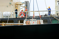 SOUTHERN OCEAN ESPERANZA 22JAN08 - Whale meat is being offloaded from the Japanese government whaling fleet's factory ship Nisshin Maru onto the supply vessel Oriental Bluebird in the Southern Ocean Whale Sanctuary. The Panama-registered Oriental Bluebird is illegally operating as part of the whaling fleet in Antarctic waters...jre/Photo by Jiri Rezac..© Jiri Rezac 2008..Contact: +44 (0) 7050 110 417.Mobile:  +44 (0) 7801 337 683.Office:  +44 (0) 20 8968 9635..Email:   jiri@jirirezac.com.Web:    www.jirirezac.com..© All images Jiri Rezac 2008 - All rights reserved.