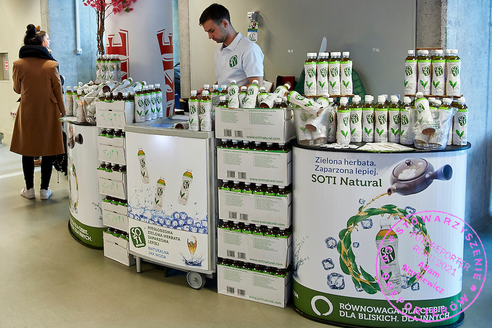 GDANSK, POLAND - 2016 MARCH 06: SOTI Natural   commercial stand during the Davis Cup / World Group 1st round tennis match between Poland and Argentina at Ergo Arena on March 6, 2016 in Gdansk, Poland<br /> <br /> Picture also available in RAW (NEF) or TIFF format on special request.<br /> <br /> Any editorial, commercial or promotional use requires written permission.<br /> <br /> Mandatory credit:<br /> Photo by &copy; Adam Nurkiewicz / Mediasport
