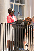 Rev. Dr. Betty Deas Clark, pastor of Emanuel AME Church, offers the invocation as the annual Spoleto Festival USA, a 17-day performing arts festival kicks off May 27, 2016 in Charleston, South Carolina. The festival began with remembrances of the nine people fatally shot in last years AME church shooting.