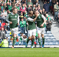 Hibernian's Alex Harris cele scoring their first goal..Hibernian 4 v 3 Falkirk, William Hill Scottish Cup Semi Final, Hampden Park..©Michael Schofield..