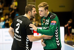 Lucas Meister of Kadetten Schaffhausen and Simon Kindle of Kadetten Schaffhausen during handball match between RK Gorenje Velenje and Kadetten Schaffhausen in VELUX EHF Champions League, on November 25, 2017 in Rdeca Dvorana, Velenje, Slovenia. Photo by Ziga Zupan / Sportida