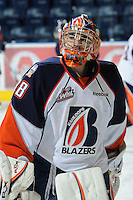 KELOWNA, CANADA, OCTOBER 29: Cole Cheveldave #38 of the Kamloops Blazers warms up as the Kamloops Blazers visit the Kelowna Rockets  on October 29, 2011 at Prospera Place in Kelowna, British Columbia, Canada (Photo by Marissa Baecker/Shoot the Breeze) *** Local Caption *** Cole Cheveldave;