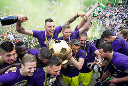Players of NK Maribor celebrate after NK Maribor became Slovenian National Champion 2015 after football match between NK Maribor and NK Luka Koper in 36th Round of Prva liga Telekom Slovenije 2014/15, on May 30, 2015 in Stadium Ljudski vrt Maribor, Slovenia. Photo by Vid Ponikvar / Sportida