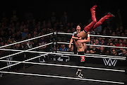 Sami Zayn slams Shinsuke Nakamura during NXT Takeover: Dallas on April 1, 2016 in Dallas, Texas.