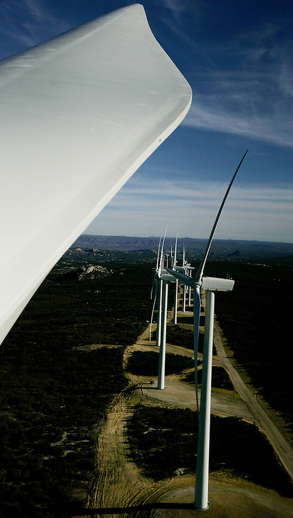 View of the Kumeyaay Wind Farm outside of San Diego, California in February, 2006.