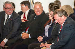 Pictured: Alex Rowley checks his revised notes as Frank McAvetee jokes with Labour's lead stratagist Ian Lavety.<br /> <br /> Scottish Labour leader Kezia Dugdale and deputy leader Alex Rowley had t make swift changes to their respective speeches forllowing the announcement of a General Election in June just before they headed to the lectern at Edinburgh's Dynamic Earth to launch Scottish Labour's council election campaign today. <br /> Ger Harley | EEm 18 April 2017