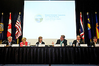 Members of the Western Governors' Association discuss a motion on a resolution Thursday regarding an environmental policy during a roundtable session at the group's annual meeting in Coeur d'Alene. Photographed from left, Oregon Gov. John Kitzhaber, Washington Gov. Christine Gregoire, Western Governors' Association Executive Director Pam Inmann, Idaho Gov. Butch Otter, Montana Gov. Brian Schweitzer, and Utah Gov. Gary Herbert.