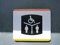 Toilet sign at train station