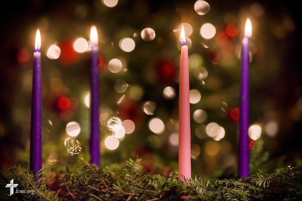 Photo illustration of Advent candles and wreath, on Wednesday, Dec. 28, 2016, in St. Louis.  LCMS Communications/Erik M. Lunsford