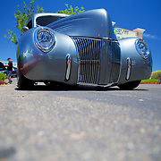 A pristine slammed 1940's Ford Pickup in the Super nationals summer series