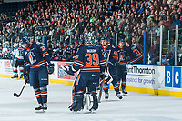KELOWNA, CANADA - MARCH 31: Jermaine Loewen #32, Ondrej Vala #42 and Connor Ingram #39 of the Kamloops Blazers celebrate a goal against the Kelowna Rockets on March 31, 2017 at Prospera Place in Kelowna, British Columbia, Canada.  (Photo by Marissa Baecker/Shoot the Breeze)  *** Local Caption ***