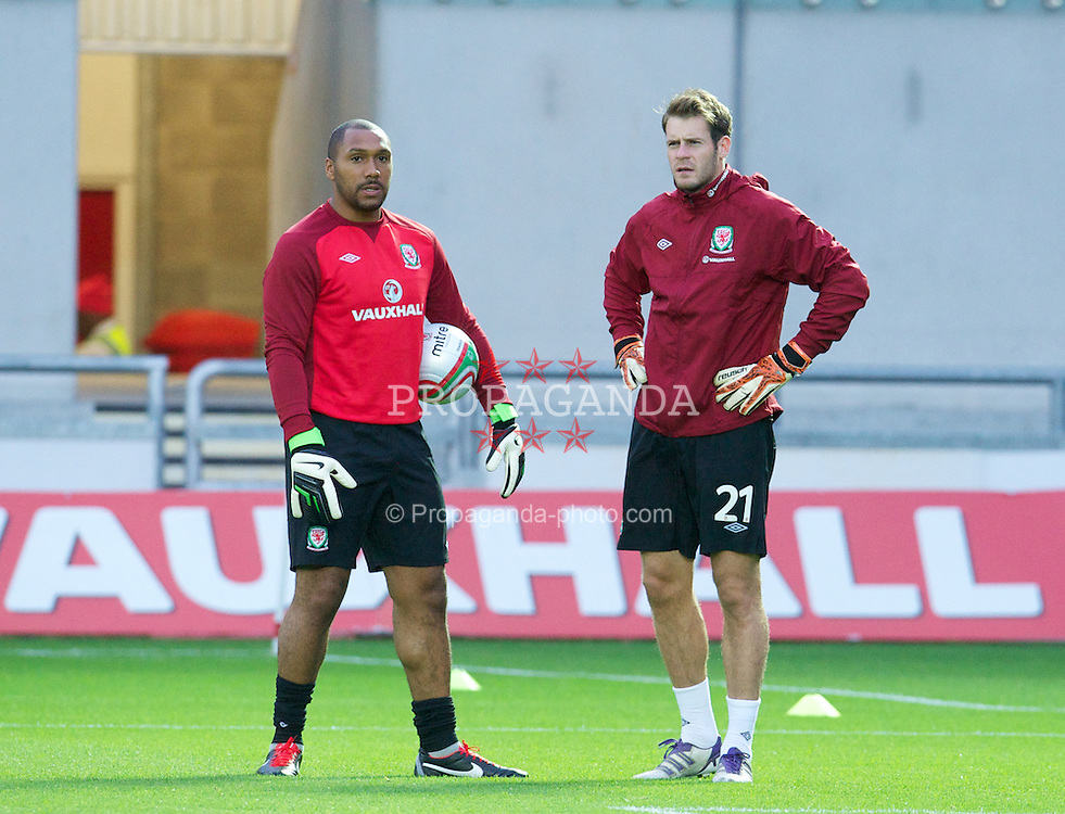 LLANELLI, WALES - Wednesday, August 15, 2012: Wales' goalkeeper Jason Brown and goalkeeper Owain Fon Williams before the international friendly match against Bosnia-Herzegovina at Parc y Scarlets. (Pic by David Rawcliffe/Propaganda)
