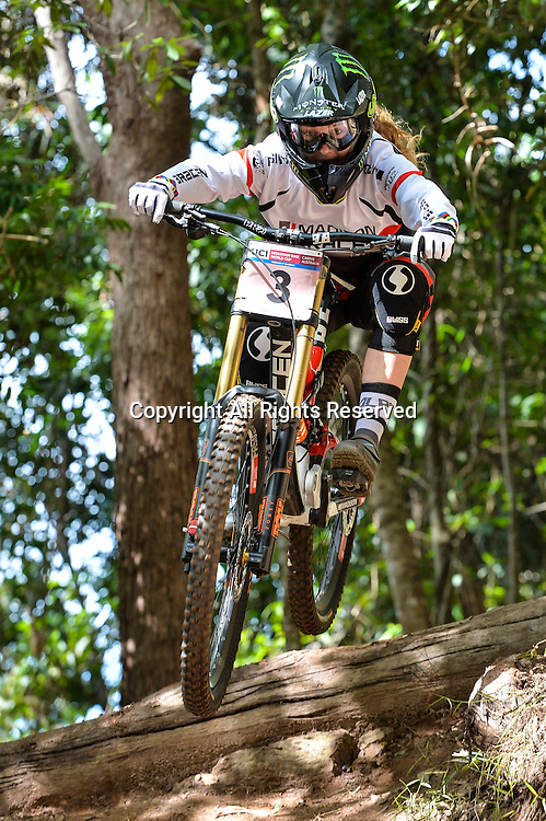 22.04.2016. Cairns,Australia. UCI Mountain Bike World Cup. Downhill qualifying. Manon Carpenter from GBR riding for MADISON SARACEN FACTORY TEAM qualifies second fastest.