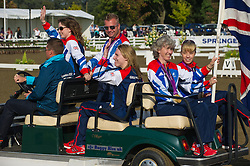 Paralympic medal-winning Equestrians Sophie Christiansen, Deborah Criddle, Sophie Wells, Natasha Baker and Lee Pearson parade at the British Dressage National Championships 2012, Stoneleigh, Warwickshire, September 15th 2012. Photo by Nico Morgan/ i-Images.