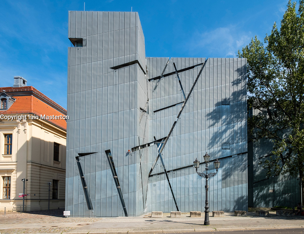 View of the Jewish Museum designed by Daniel Libeskind in Kreuzberg, Berlin, Germany