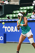 SEPTEMBER 21: Varatchaya Wongteanchai of Thailand and Nicole Melichar of USA competes against Arina Rodionova of Australia and Olga Savchuk of Ukraine during women's double match day three of the Toray Pan Pacific Open at Ariake Colosseum on September 21, 2016 in Tokyo, Japan 21/09/2016-Tokyo, JAPAN