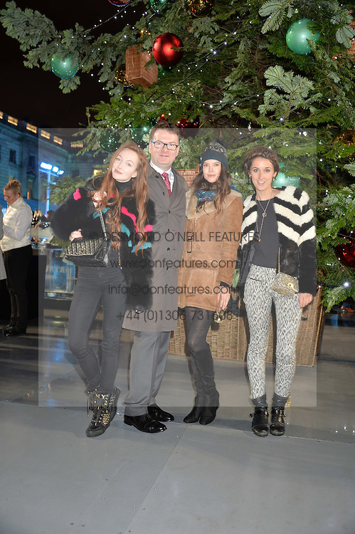 Left to right, OLIVIA GRANT, EWAN VENTERS, SARAH ANN MACKLIN and ROSANNA FALCONER at Skate At Somerset House with Fortnum & Mason on 16th November 2016.