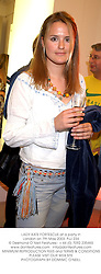LADY KATE FORTESCUE at a party in London on 7th May 2003.	PJJ 234