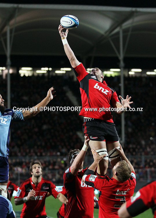 Crusaders lock Luke Romano takers the ball off a lineout. Super Rugby game between the Crusaders and the Blues. The new AMI Christchurch Stadium at Rugby League Park, Saturday 19 May 2012. Photo : Joseph Johnson / photosport.co.nz