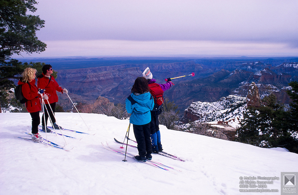 North Rim Nordic Center: Skiers at Point Imperial, Grand Canyon National Park, Arizona..Media Usage:.Subject photograph(s) are copyrighted Edward McCain. All rights are reserved except those specifically granted by McCain Photography in writing...McCain Photography.211 S 4th Avenue.Tucson, AZ 85701-2103.(520) 623-1998.mobile: (520) 990-0999.fax: (520) 623-1190.http://www.mccainphoto.com.edward@mccainphoto.com.