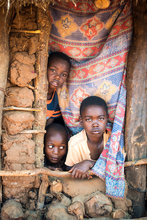 Three young Zambian boys gather together at window of their hut to pose for a picture, Mukuni Village, Zambia