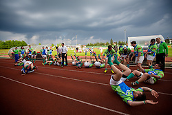 Players of Slovenia celebrate after rugby match between National team of Slovenia (green) and Bulgaria (white) at EUROPEAN NATIONS CUP 2012-2014 of C group 2nd division, on April 12, 2014, at ZAK Stadium, Ljubljana, Slovenia. (Photo by Matic Klansek Velej / Sportida.com)