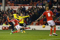 Jon Toral of Brentford shoots and scores a goal to make it 0-1 - Photo mandatory by-line: Rogan Thomson/JMP - 07966 386802 - 05/11/2014 - SPORT - FOOTBALL - Nottingham, England - City Ground - Nottingham Forest v Brentford - Sky Bet Championship.