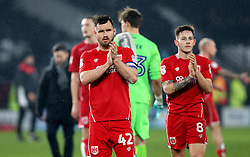 Bailey Wright of Bristol City and Josh Brownhill of Bristol City applaud the fans - Mandatory by-line: Robbie Stephenson/JMP - 11/02/2017 - FOOTBALL - iPro Stadium - Derby, England - Derby County v Bristol City - Sky Bet Championship