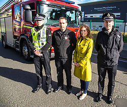 Pictured: Inspector Jonny  Elliot, Station manager Keith Langley, Community Safety Minister Ash Denham and Chief Inspector David Robertson<br /> <br /> Community Safety Minister Ash Denham visited Royston Wardieburn Community Centre, today and meet with Police Scotland and Scottish Fire and Rescue staff to discuss preparations for Bonfire Night. She met with Station manager Keith Langley, Chief Inspector David Robertson, Commander for bonfires in Edinburgh and Inspector Jonny Elliot.<br /> <br /> Ger Harley | EEm 5 October 2018