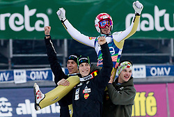 Winner Robert Kranjec of Slovenia celebrate with Jure Sinkovec, Jurij Tepes and Jaka Hvala after the Flying Hill Individual competition at 2nd day of FIS Ski Jumping World Cup Finals Planica 2012, on March 16, 2012, Planica, Slovenia. (Photo by Vid Ponikvar / Sportida.com)
