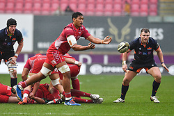 Sam Lousi of Scarlets in action during todays match<br /> <br /> Photographer Craig Thomas/Replay Images<br /> <br /> Guinness PRO14 Round 11 - Scarlets v Edinburgh - Saturday 15th February 2020 - Parc y Scarlets - Llanelli<br /> <br /> World Copyright © Replay Images . All rights reserved. info@replayimages.co.uk - http://replayimages.co.uk