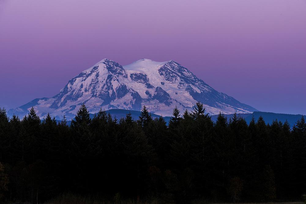 Purple sunset at Mt. Rainier, Washington