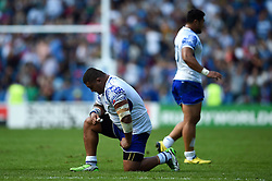 Sakaria Taulafo of Samoa after the final whistle - Mandatory byline: Patrick Khachfe/JMP - 07966 386802 - 20/09/2015 - RUGBY UNION - Brighton Community Stadium - Brighton, England - Samoa v USA - Rugby World Cup 2015 Pool B.
