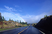 Road, rainbow, Kohala, Island of Hawaii<br />
