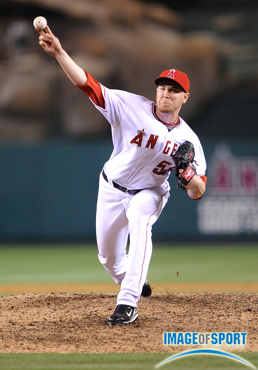 Apr 28, 2007; Anaheim, CA, USA; Los Angeles Angeles Angels reliever Dustin Moseley (58) pitches during 14-2 loss to the Oakland Athletics at Angel Stadium. Mandatory Credit: Kirby Lee/Image of Sport-US PRESSWIRE